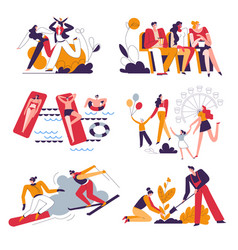 family pastime isolated icons outdoor activities vector image