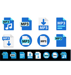 file format extensions icons mp3 wav collection vector image