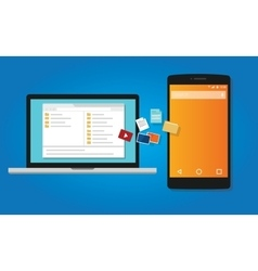 File transfer copy document to mobile phone from vector