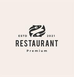 fish sea food restaurant hipster vintage logo icon vector image