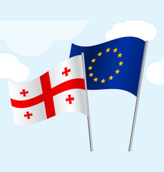 flag of georgia and the european union develop in vector image