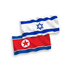 flags north korea and israel on a white vector image