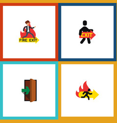 flat icon emergency set of entrance exit fire vector image