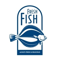 Fresh flounder retro symbol for fish market design vector