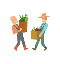 Garden harvest people character vector image