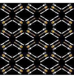 Gold restaurant utensil icons seamless pattern vector image