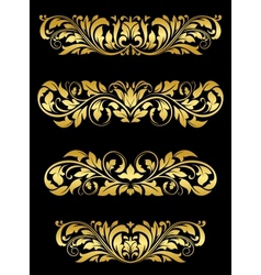 Golden floral embellishments vector