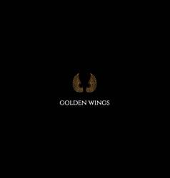 Golden luxury wings logo design vector