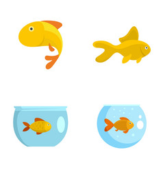 Goldfish and fishbowl icons set flat style vector