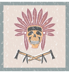 Grunge Native American chief skull in tribal vector