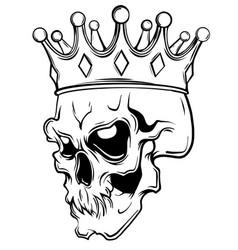 Hand drawn king skull wearing crown vector