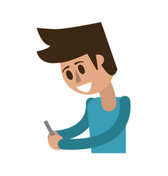 Happy man using cellphone icon image vector