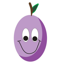 Happy purple plum on white background vector