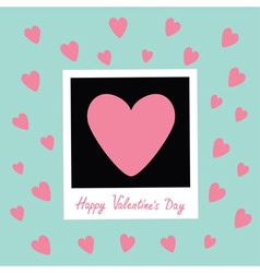 Happy Valentines Day Love card Instant photo in vector image