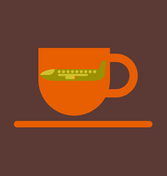 icon in flat design for airport cup of coffee vector image