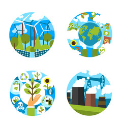 Icons for green nature environment ecology vector