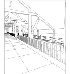 Industrial building constructions indoor tracing vector