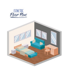 isometric floor plan of bedroom interior colorful vector image