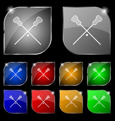 Lacrosse Sticks crossed icon sign Set of ten vector image