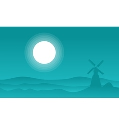 Landscape of windmill at night vector image