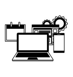 Laptop computer with webpage and smartphone vector