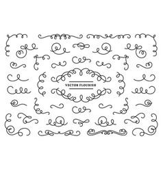 Line flourish ornament swirls vintage swirl lines vector