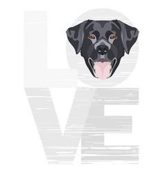Love black labrador vector