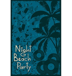 Night beach party flyer vector
