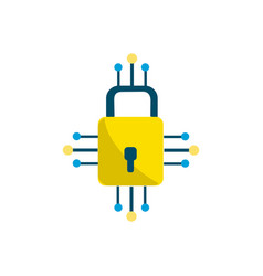 Padlock with circuits to security dgital vector