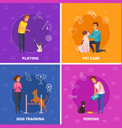 People with pets 2x2 cartoon square icons vector