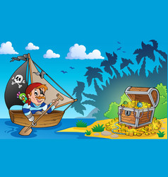 Pirate theme with treasure chest 3 vector