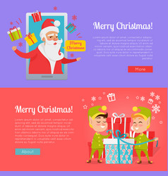Poster of colourful merry christmas pictures vector