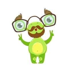 Professor Funny Monster With Beard And Glasses vector
