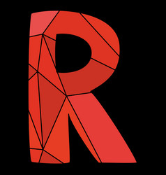 R red alphabet letter isolated on black background vector