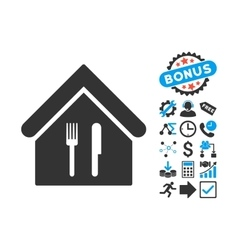 Restaurant Flat Icon with Bonus vector image