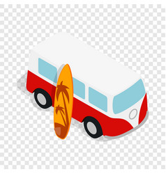 Retro red bus with yellow surfboard isometric icon vector