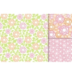 Rose flowers with green leaves seamless pattern vector image