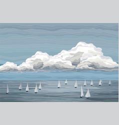 Sailboats in sea landscape vector