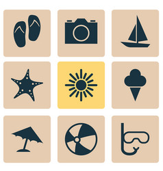 Season icons set collection of video tube ship vector