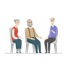 Senior people talking - flat design style vector