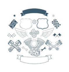 set biker label elements vector image