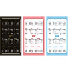 set of color calendar grid templates in vector image