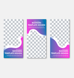 set of vertical web banners with wavy elements vector image