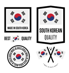 South korea quality label set for goods vector