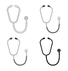 stethoscope icon in cartoon style isolated on vector image