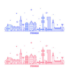 stockholm skyline sweden city buildings vector image