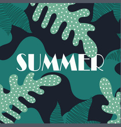 summer creative palm leaves background vector image