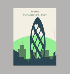 The gherkin london uk vintage style landmark vector