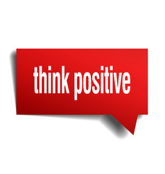 Think positive red 3d speech bubble vector