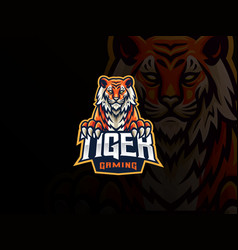 Tiger mascot sport logo design vector